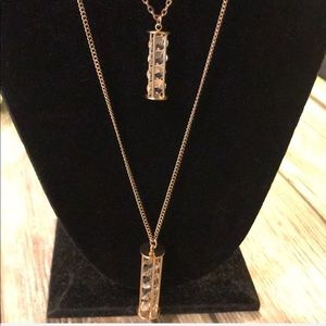 Jewelry - Double Chain Crystal Pendants Gold Color Fashion